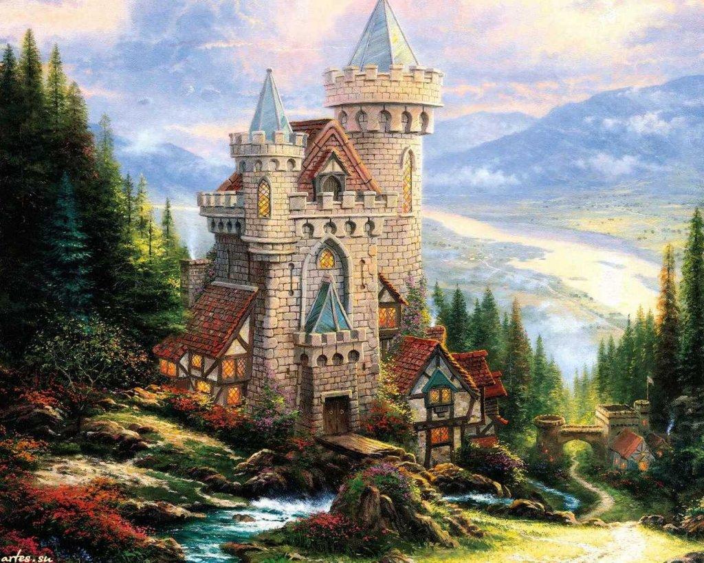 Скачать обои  пейзаж, старинный замок, Thomas Kinkade 1024x768