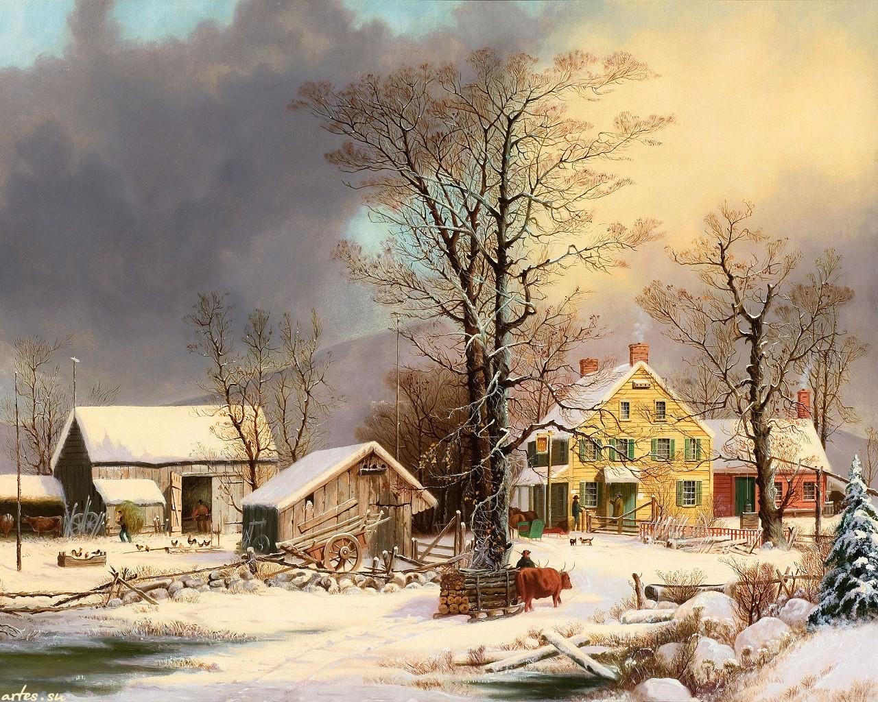 Зима сельский пейзаж на рабочий стол