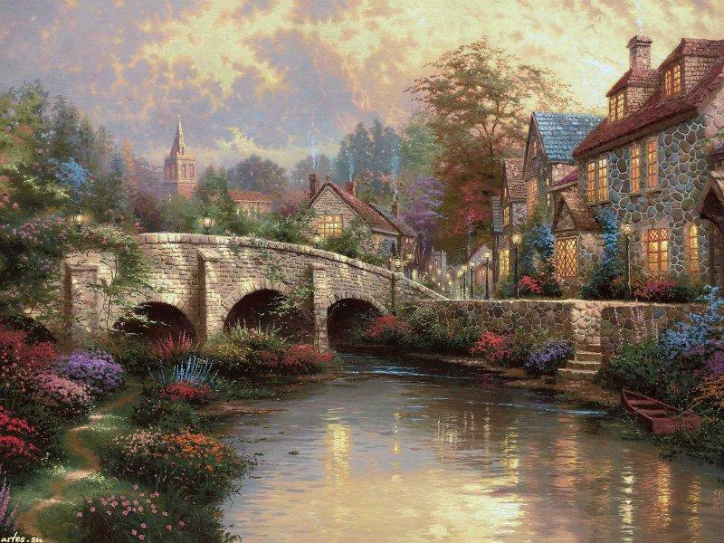 Скачать обои  пейзаж, английская деревня, Thomas Kinkade 800x600