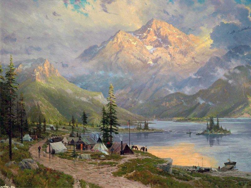 Скачать обои  пейзаж, американский Запад, Thomas Kinkade 800x600